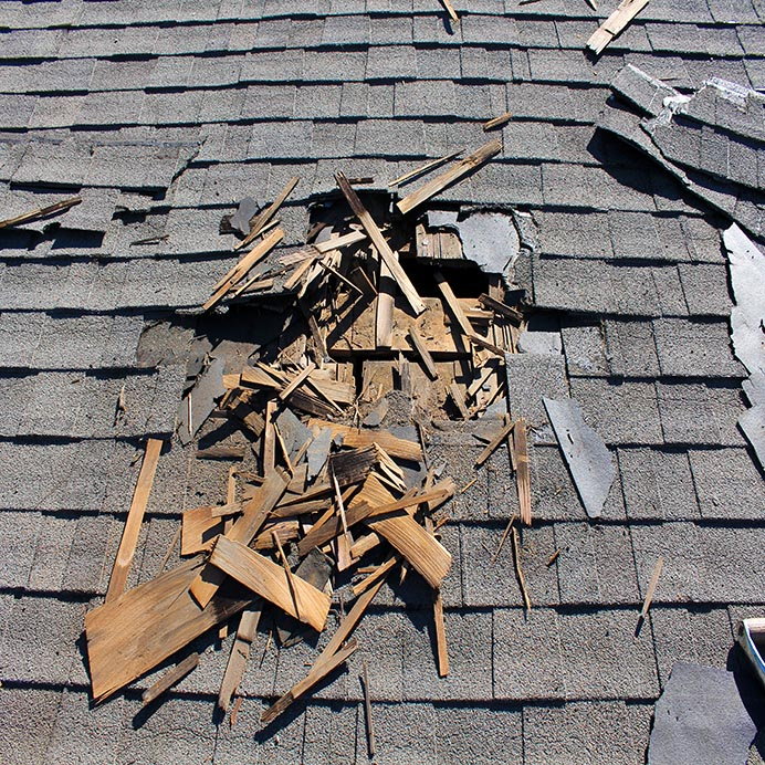 Roof repair of damaged roof